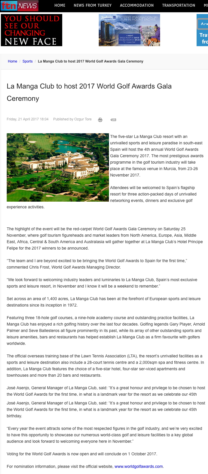 FTN News La Manga Club To Host 2017 World Golf Awards Gala
